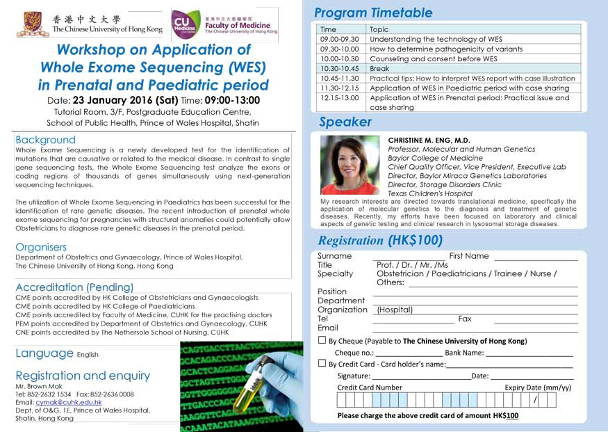 Workshop on Application of Whole Exome Sequencing (WES) in Prenatal and Paediatric period