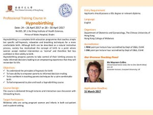 Professional Training Course in Hypnobirthing @ Rm 303, 3/F, Li Ka Shing Institute of Health Sciences, Prince of Wales Hospital Shatin