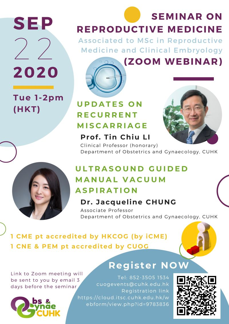SEMINAR ON REPRODUCTIVE MEDICINE Associated to MSc in Reproductive Medicine and Clinical Embryology (ZOOM WEBINAR) @ ZOOM WEBINAR