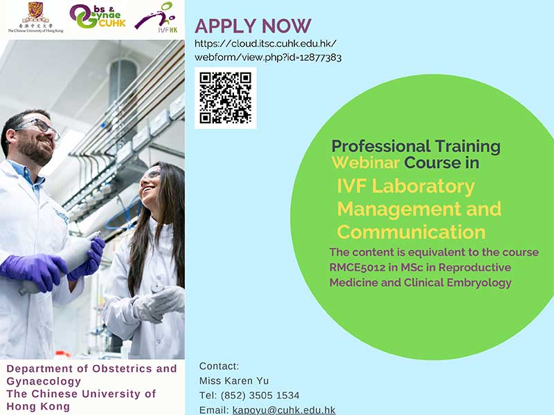 Professional Training Course in IVF Laboratory Management and Communication @ Live on Zoom