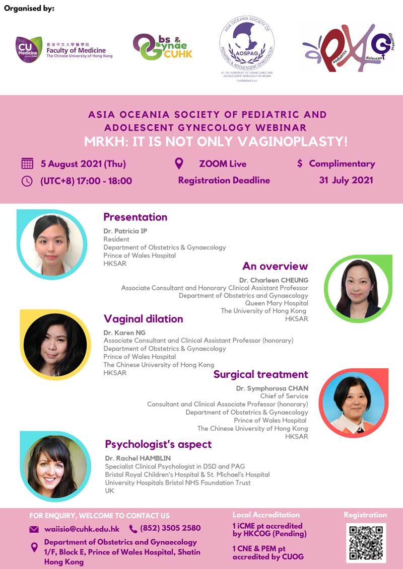 Asia Oceania Society of Pediatric and Adolescent Gynecology Webinar – MRKH: It is not only vaginoplasty! @ Live on Zoom