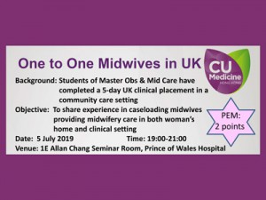 One to One Midwives in UK @ Allan Chang Seminar Room, 1E O&G Department