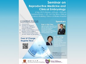 Seminar on Reproductive Medicine and Clinical Embryology @ Seminar Room 1, 2/F, LuiCheWoo Clinical Science Building, Prince of Wales Hospital